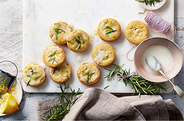 Rosemary shortbreads with lemon icing