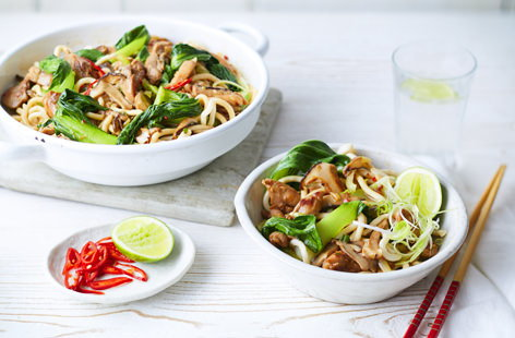 This classic Chinese recipe is super speedy and simply involves stir-frying chicken, shiitake mushrooms, pak choi and satisfyingly thick, stodgy udon noodles. Cooking in a wok on a high heat gets tender, soy-glazed ingredients singing with flavour