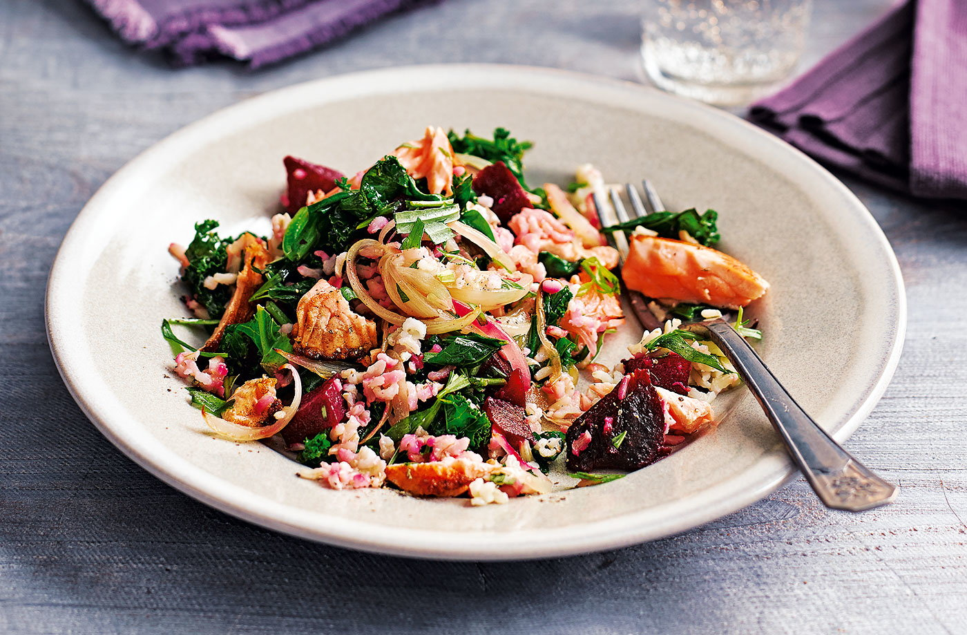 Salmon, beetroot and baby greens pilaf