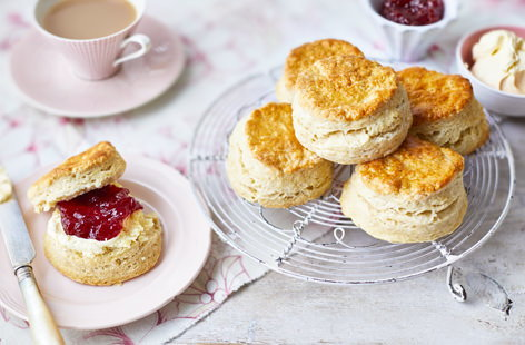 Everyone needs a tried and true scone recipe as part of their cooking repertoire, especially if you're British. This classic version is light and airy, thanks to the addition of natural yogurt, with an egg wash glaze.