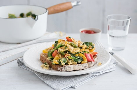 Tricolour scrambled eggs