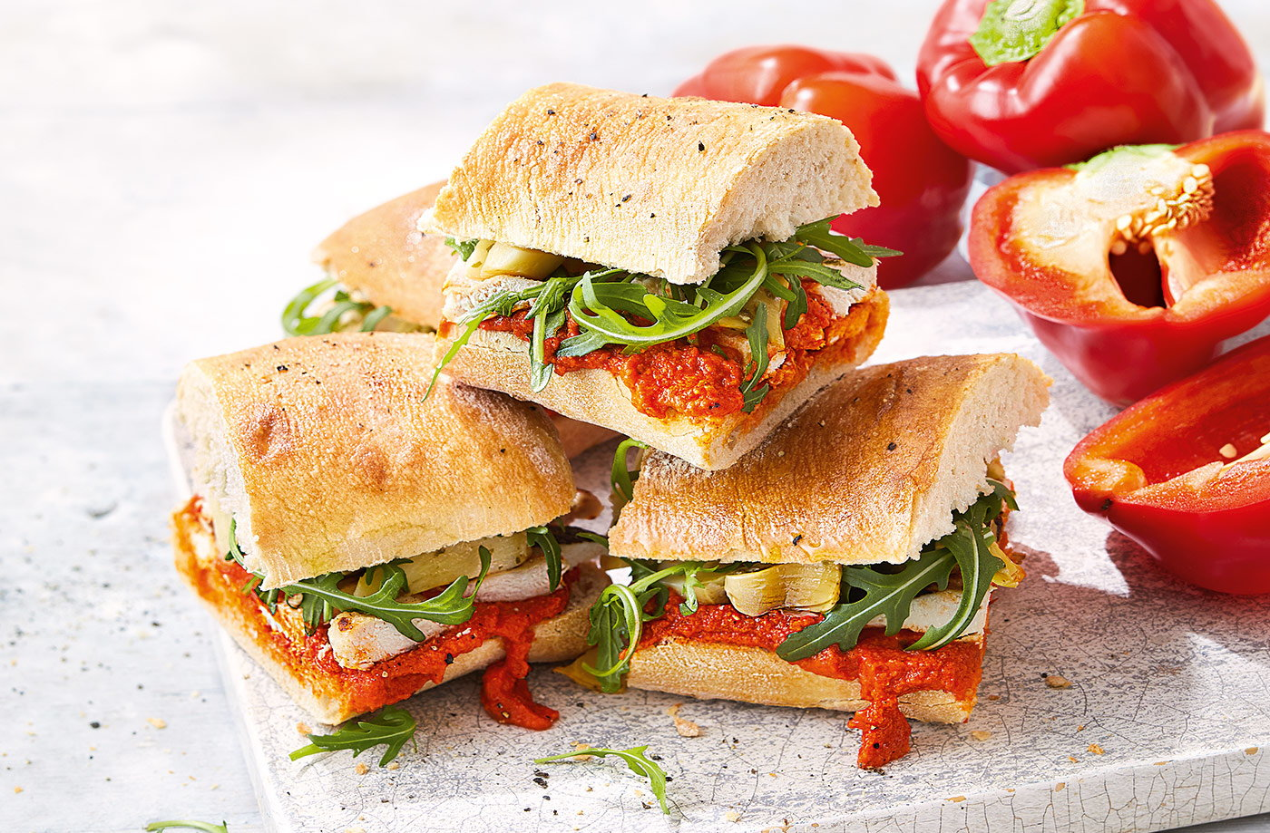 Chargrilled chicken and pepper sandwich recipe