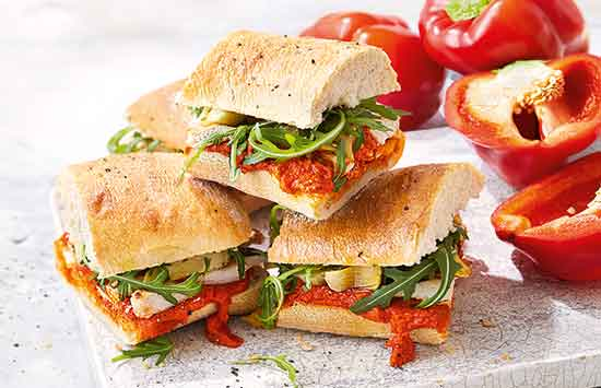 Chargrilled chicken and pepper sandwich