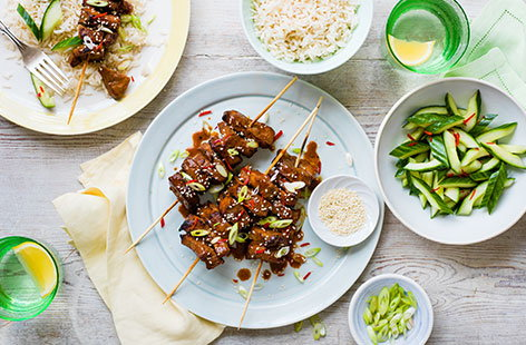 These family-favourite Asian-inspired beef kebabs are the perfect barbecue fare. Marinate them ahead of time and then simply grill them when you're ready to eat.