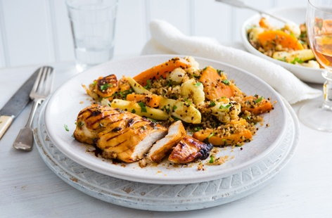 Sticky chicken with winter veg quinoa