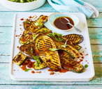 Za'atar aubergine and courgette steaks