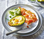 Eggs baked in avocado with smoked salmon