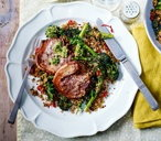Grilled lamb chops with roasted broccoli, quinoa and salsa verde