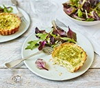 Broad bean and Cheddar quiches