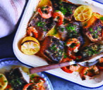 Mixed seafood roast with lemons and gremolata