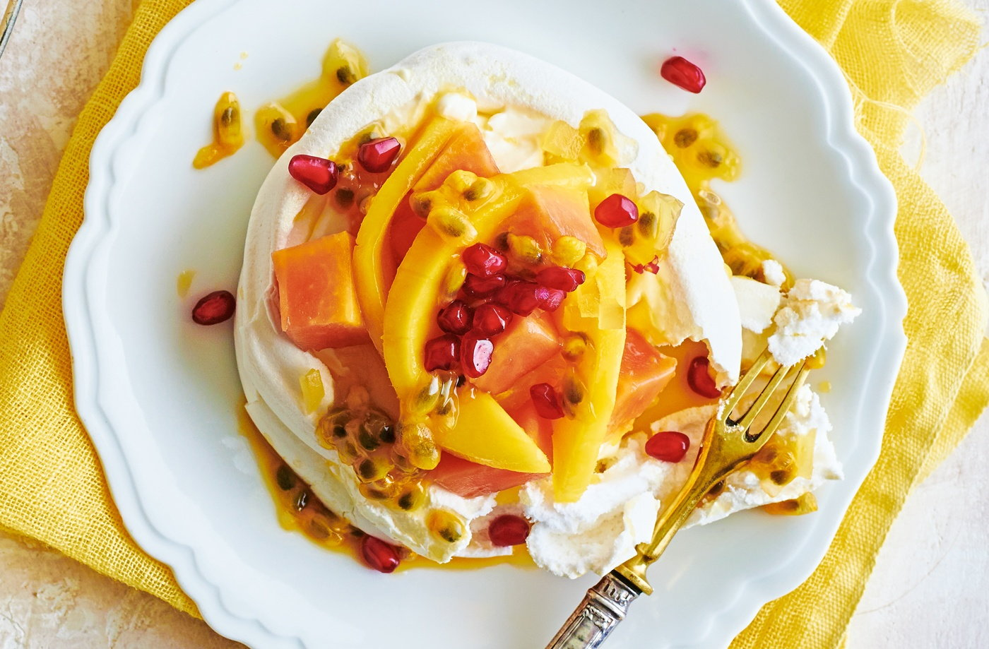 Tropical fruit Pavlovas with ginger cream