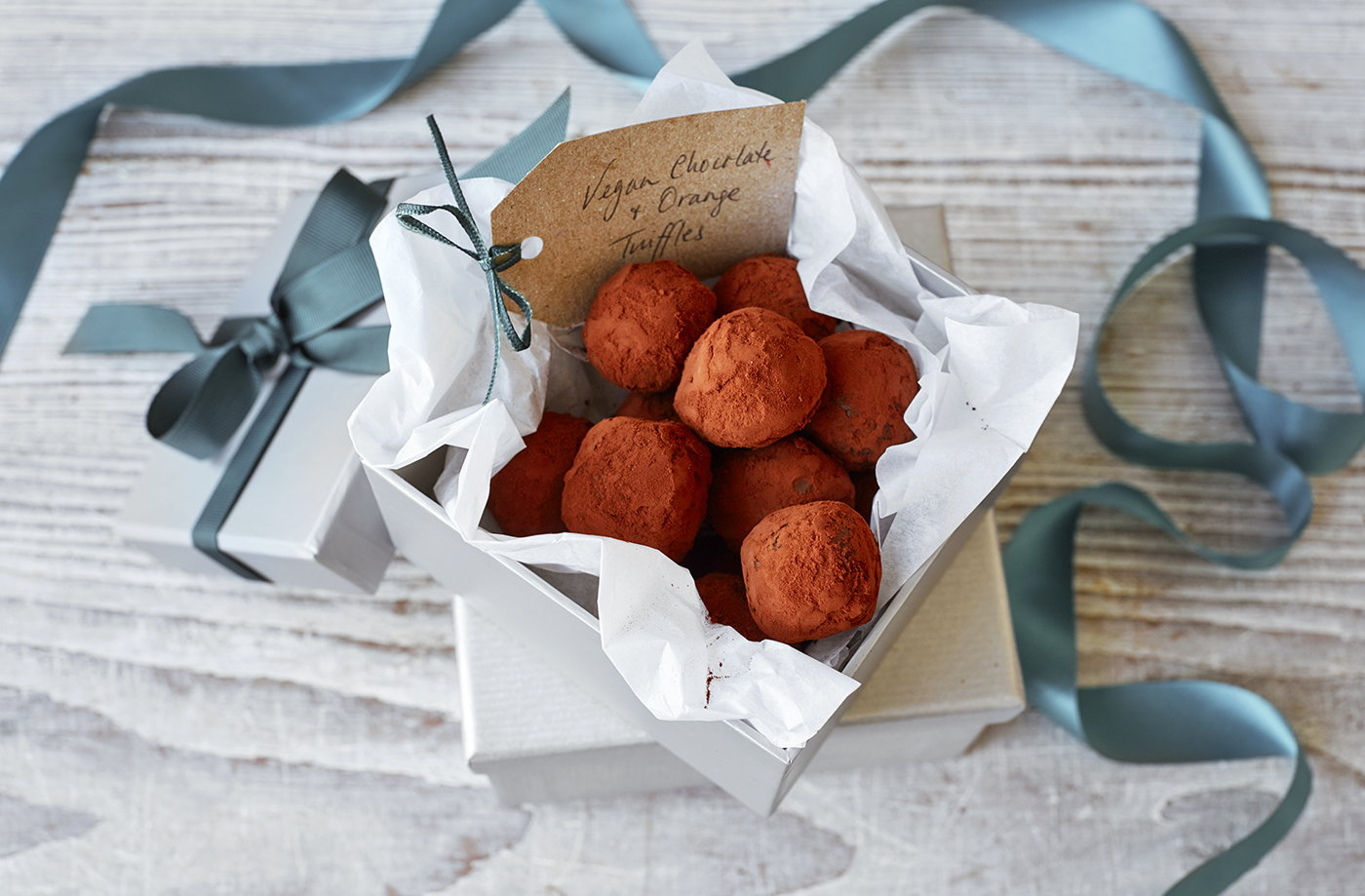 Vegan chocolate and orange truffles