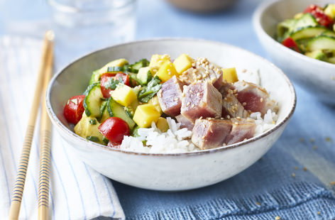 Tuna poke with jasmine rice