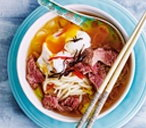 Udon noodle broth with beef and leeks