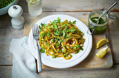 Vegan butternut squash spaghetti with rocket and hazelnut pesto