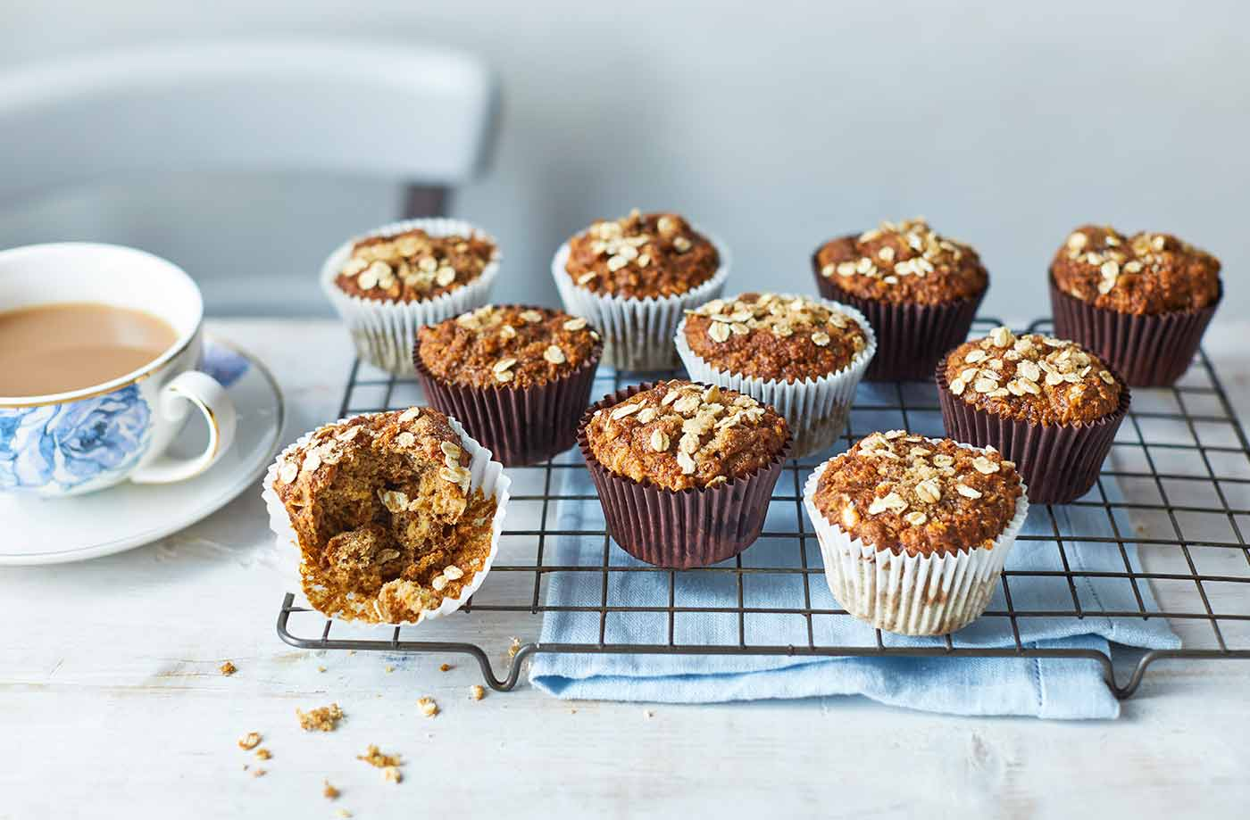 Vegan banana and oat muffins