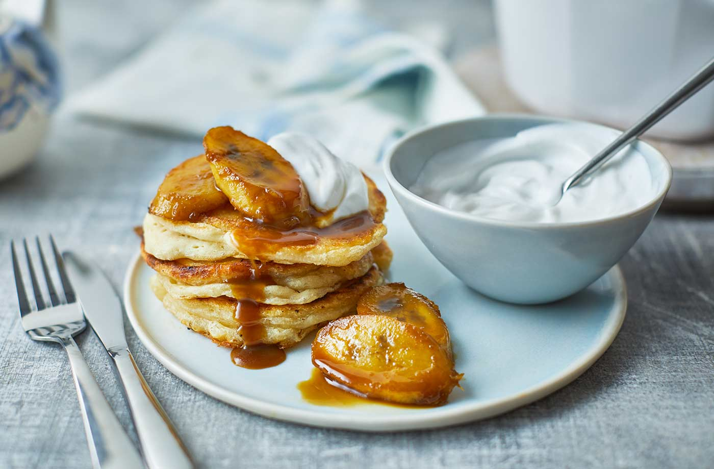 Vegan coconut pancakes with caramelised bananas recipe
