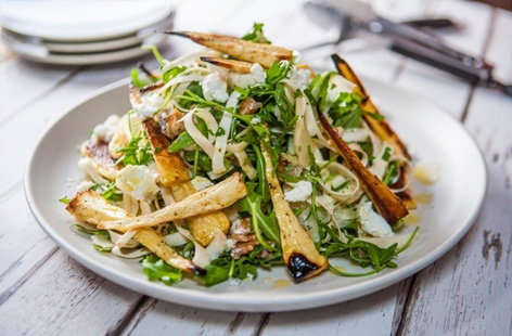Warm parsnip and pear ribbon salad