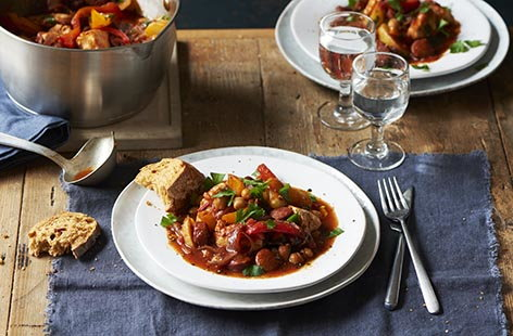 Chicken, chorizo and potato stew