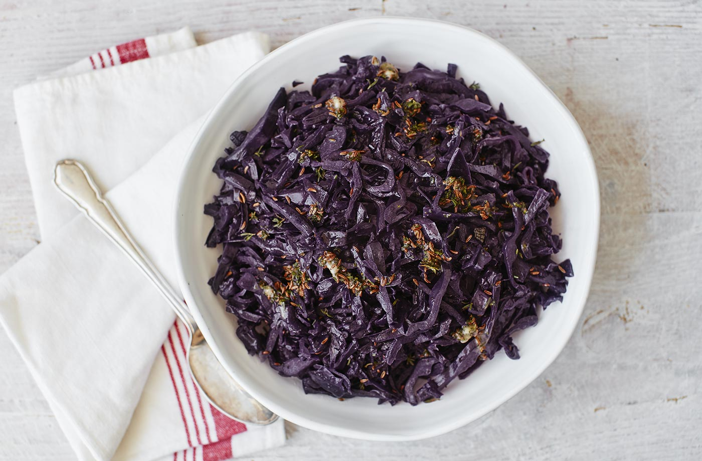 Red cabbage with thyme and caraway butter recipe