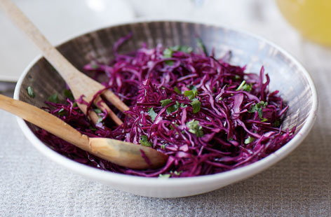 Red cabbage kimchi slaw
