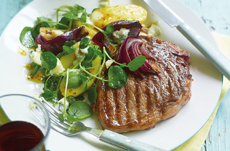 Rib eye steak with new potatoes blue cheese and watercress THUMB