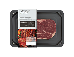 Tesco Finest Beef Ribeye SteakA rich flavour due to the marbling of fat, best-cooked medium to well