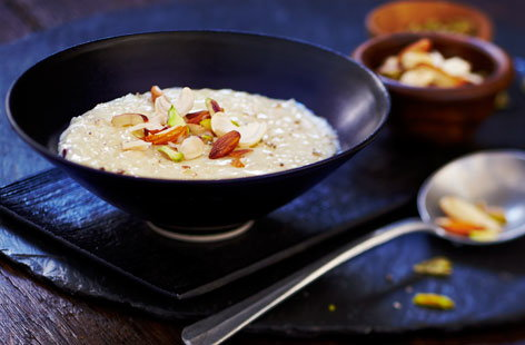 Kheer is creamy and unctuous Indian rice pudding flavoured with cardamom and peppered with pistachios and other delicious nuts and seeds. Made with basmati rice, whole milk and sweet condensed milk, it can be served hot or cold.
