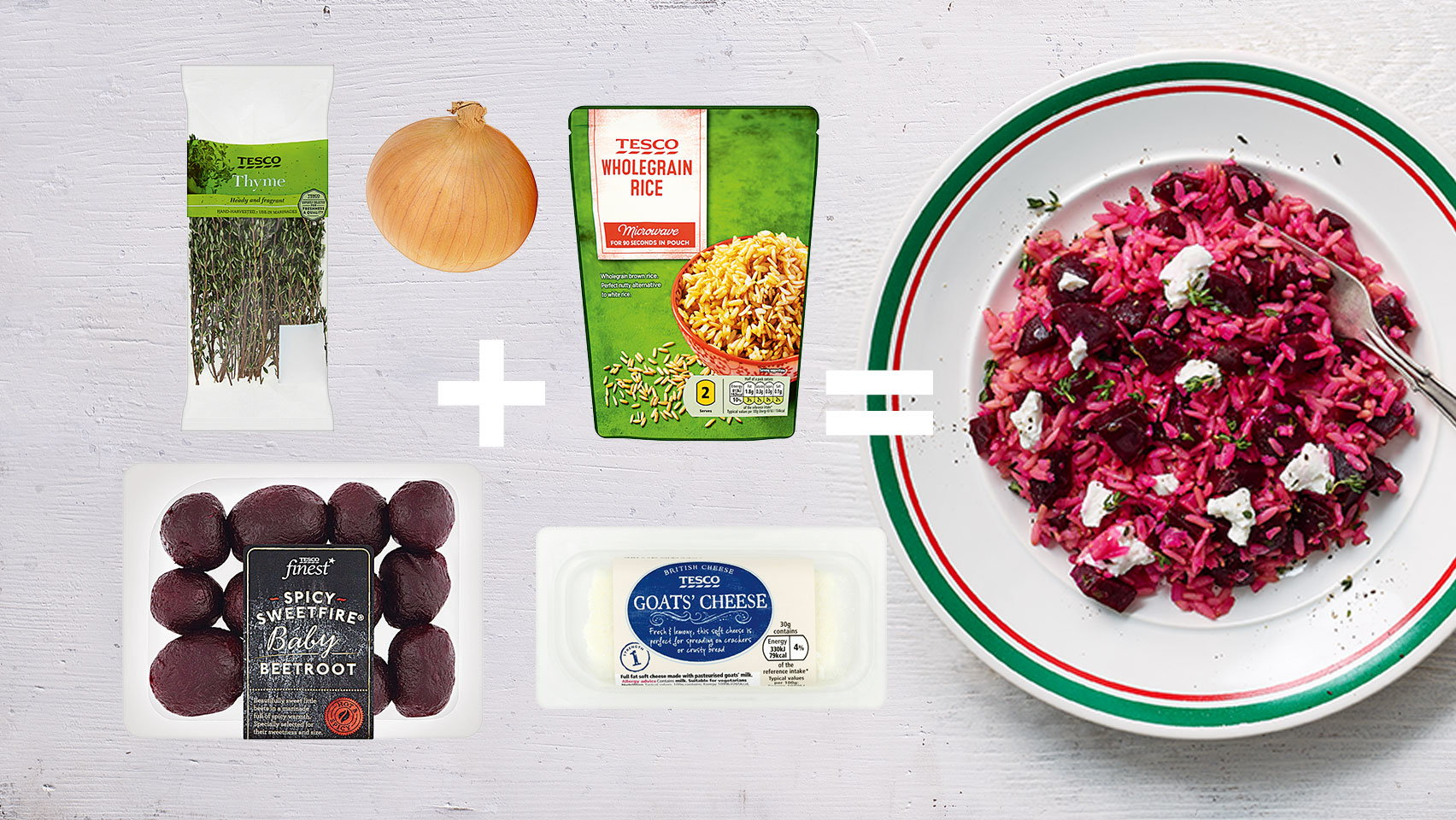 5-ingredient – Cheat's beetroot and goat's cheese risotto (still)