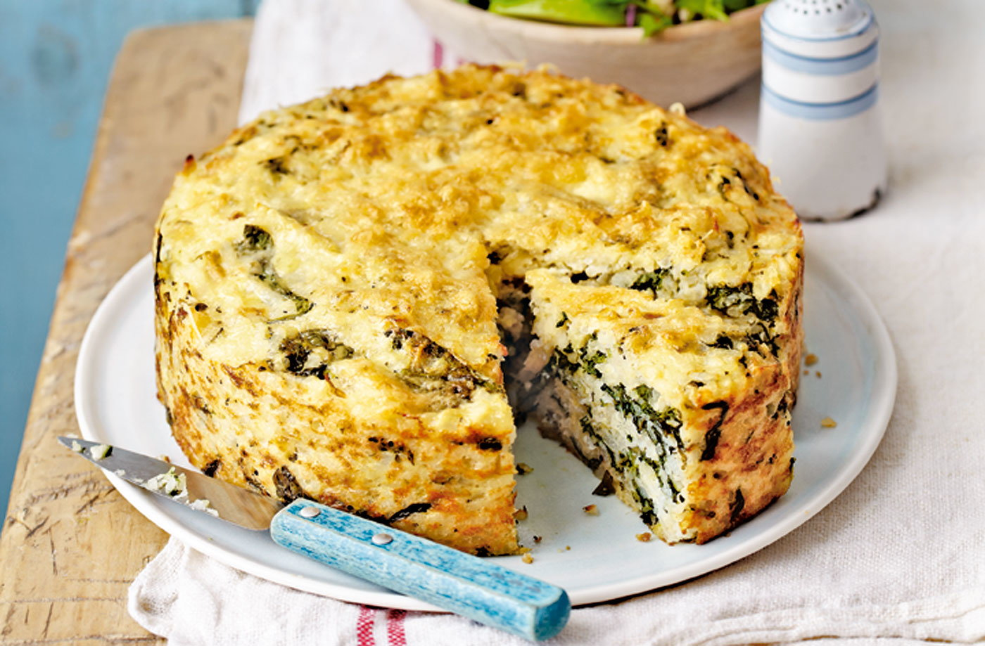 Spinach and Gruyère risotto cake with red cabbage winter salad recipe