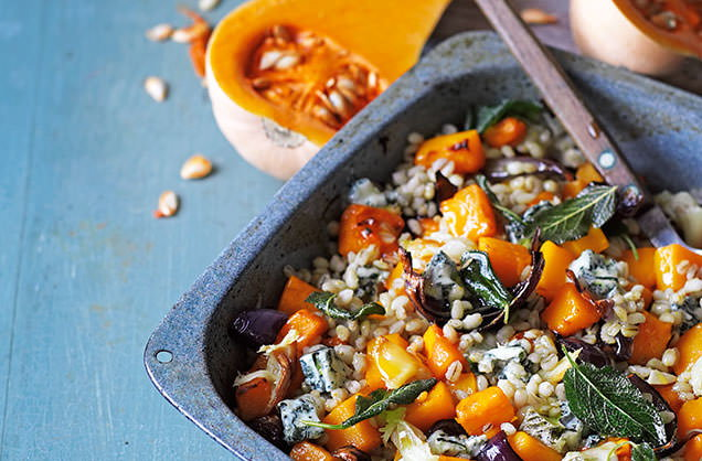 Tuesday: Roast butternut squash with pearl barley, Gorgonzola and sage