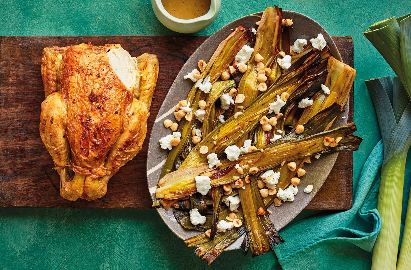 Roast chicken with caramelised leeks & goat's cheese recipe