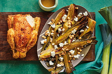 Roast chicken with caramelised leeks