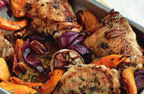 Roast rosemary chicken with squash and pecans