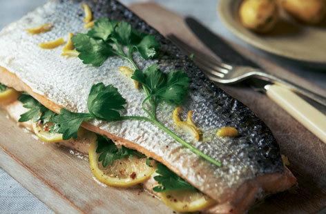 Roast salmon with lemon, chilli and parsley HERO