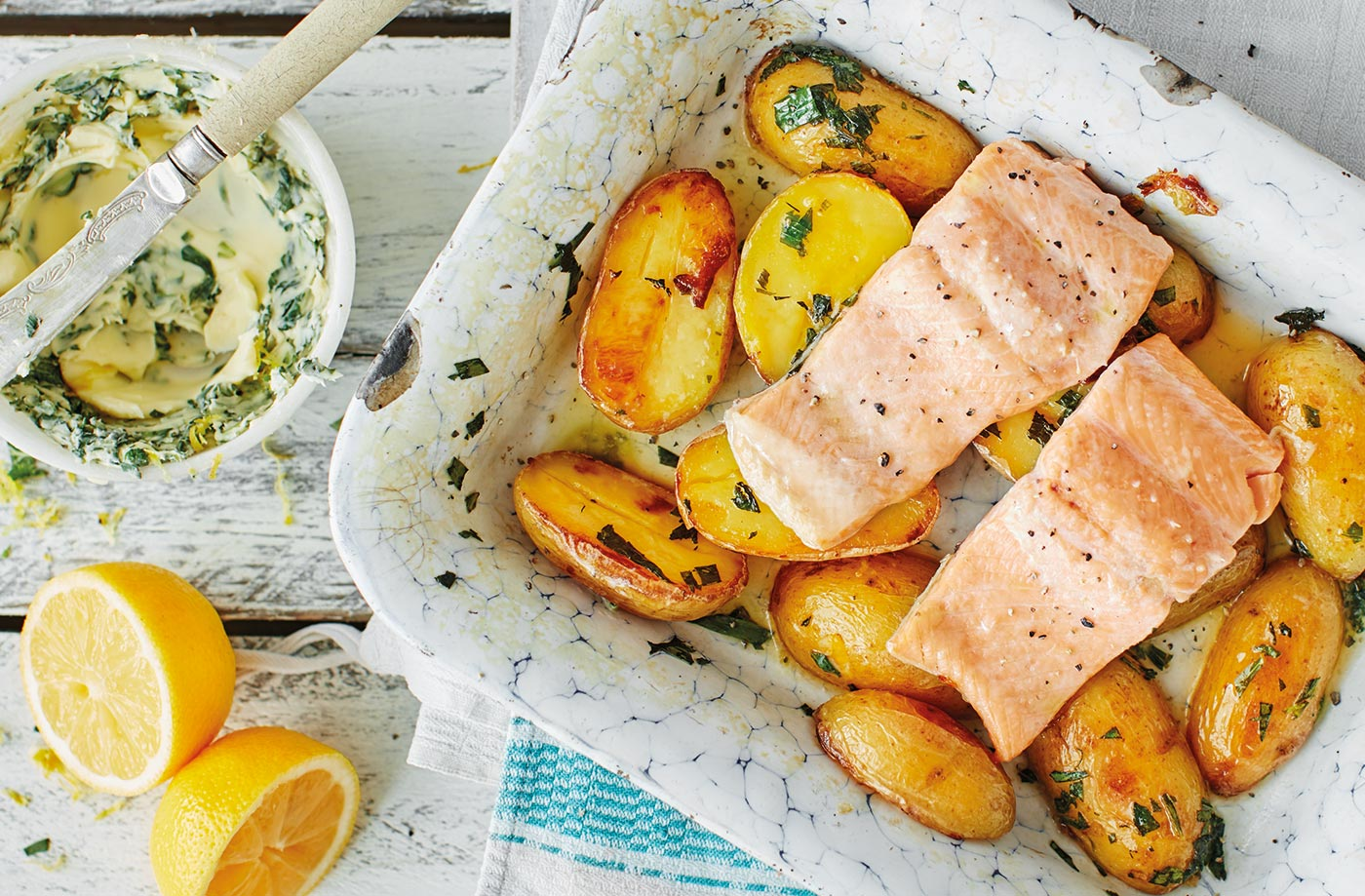 Roast trout and new potatoes with herb butter recipe