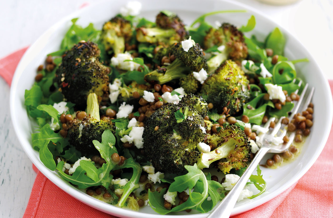 Roasted broccoli salad with feta and lentils recipe