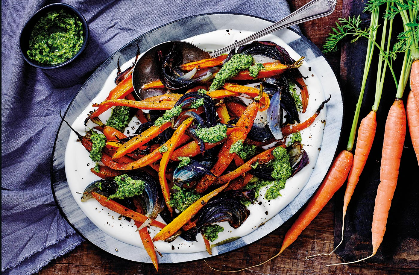 Roasted carrots with coriander pesto recipe