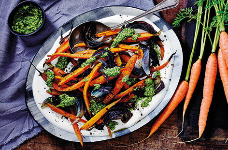 Roasted carrots with coriander pesto