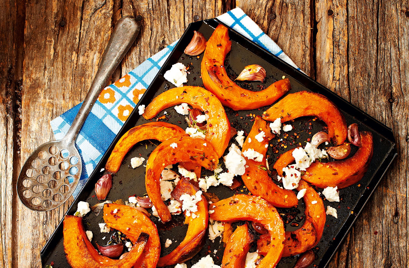 Roasted pumpkin wedges with feta and thyme recipe