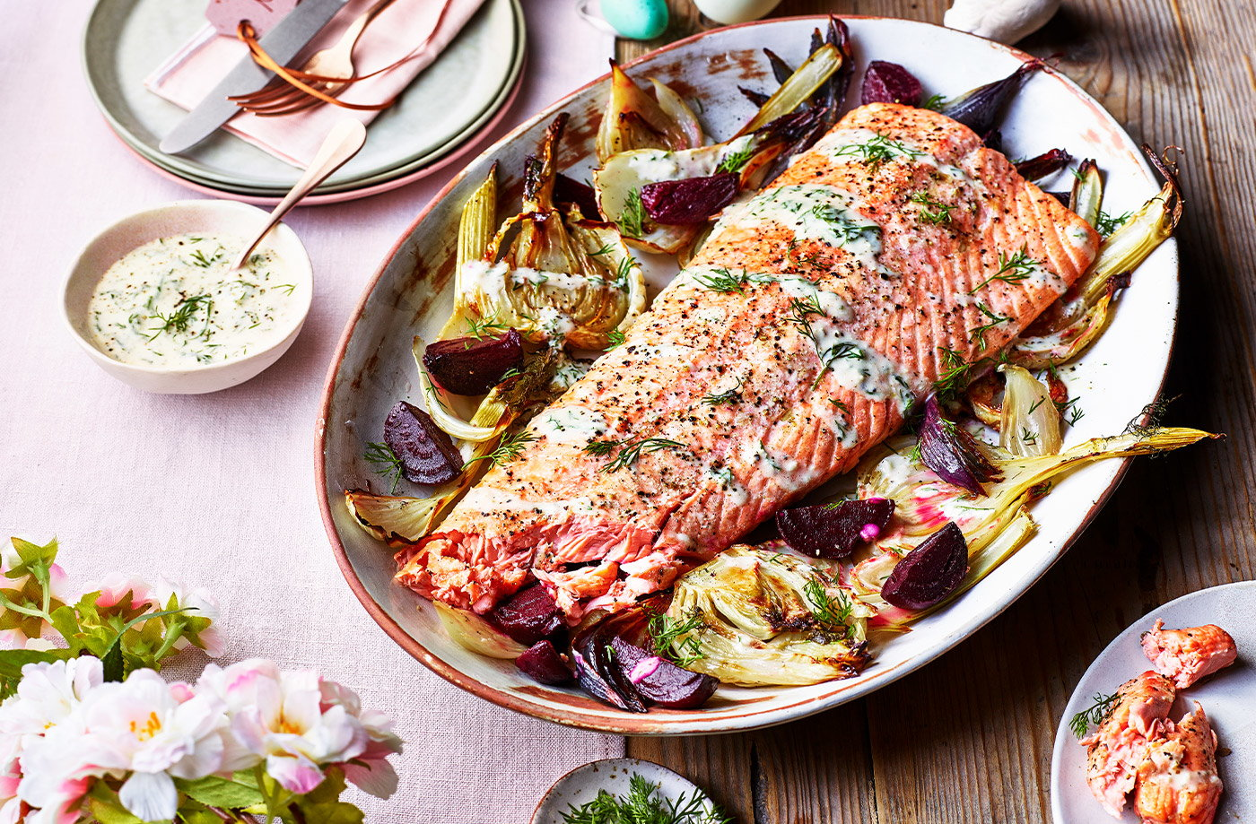 Roasted salmon with beetroot and fennel recipe
