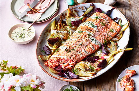 Tender roasted salmon, seasoned with fresh dill and creamed horseradish, is perfectly accompanied by the zesty presence of beetroot and fennel