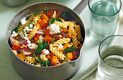 Roasted squash and goats cheese fusilli THUMB