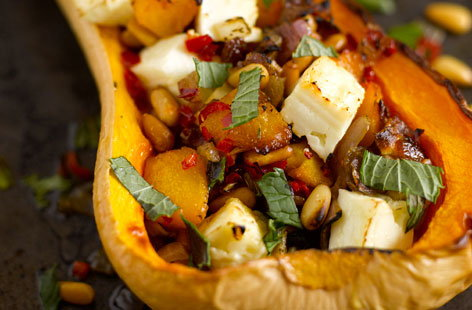 Roasted squash with feta, mint and chilli