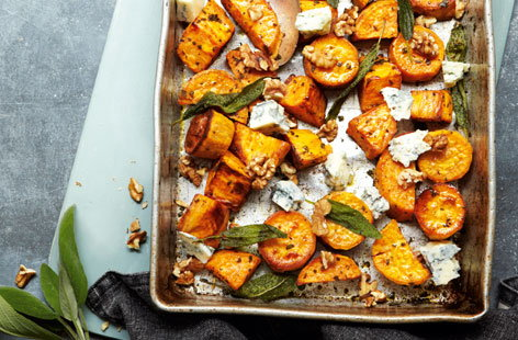 Roasted sweet potato with blue cheese, walnuts and sage