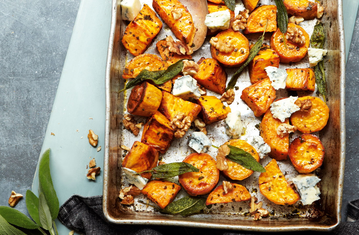 Roasted Sweet Potato With Blue Cheese Walnuts And Sage