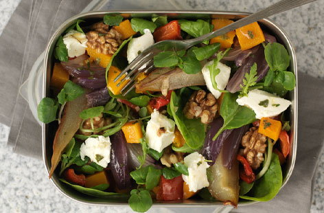 Roasted vegetable salad with goat's cheese | Tesco Real Food