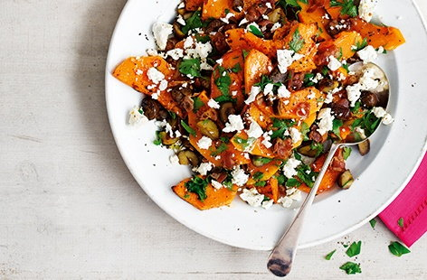 Roasted butternut squash with chestnuts, pancetta, feta and parsley