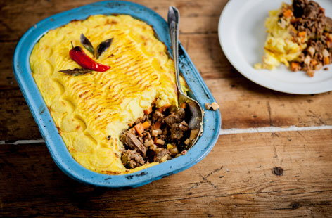 The shepherd's pie gets the Indian treatment in this dish from chef Vivek Singh.