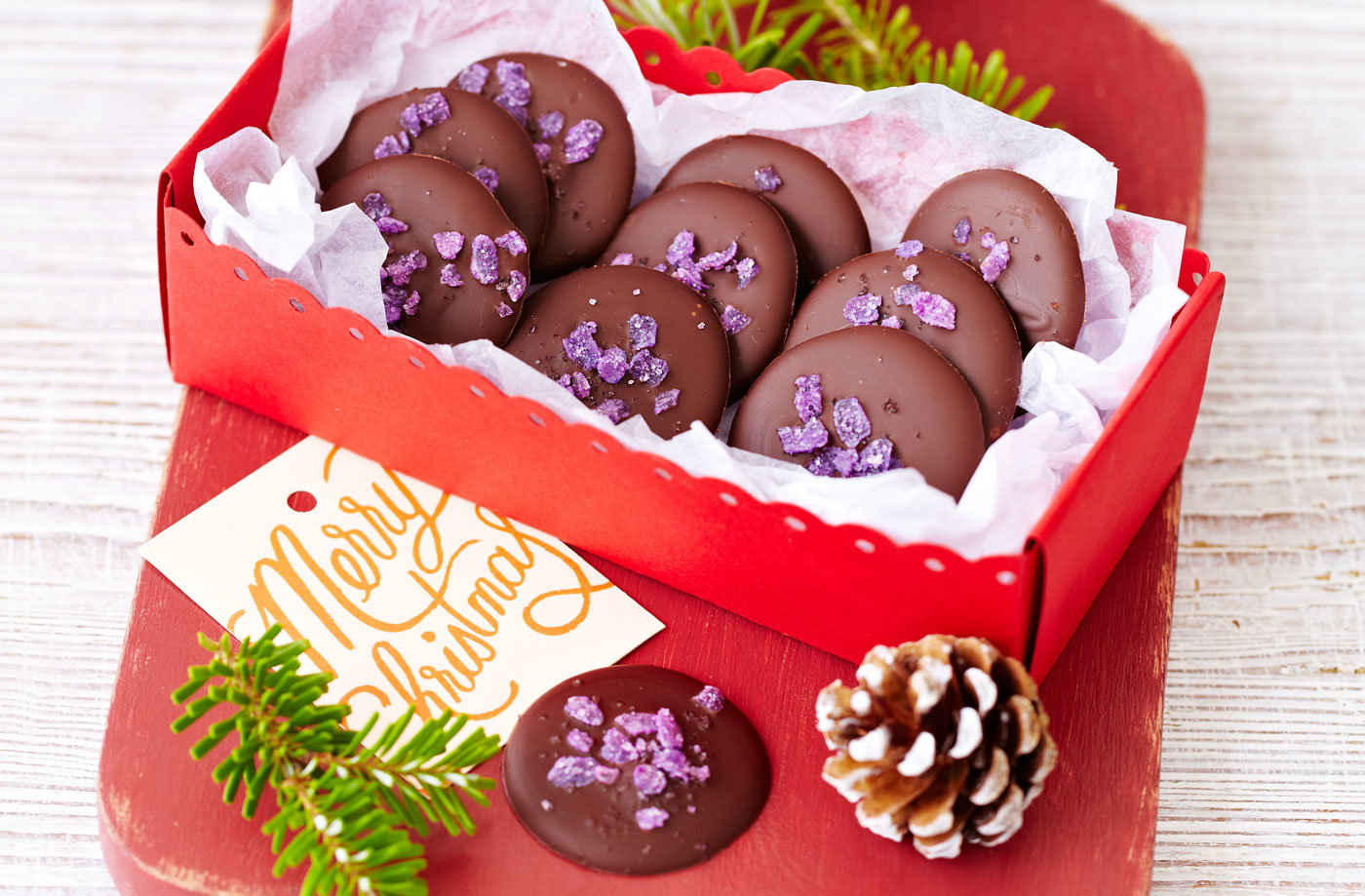 Rose and violet chocolate drops recipe